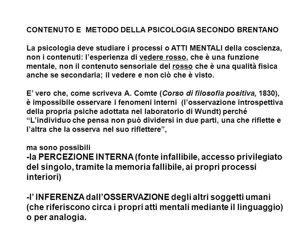 CONTENUTO E METODO DELLA PSICOLOGIA SECONDO BRENTANO La psicologia deve studiare i processi o ATTI MENTALI della coscienza, non i contenuti: lesperien