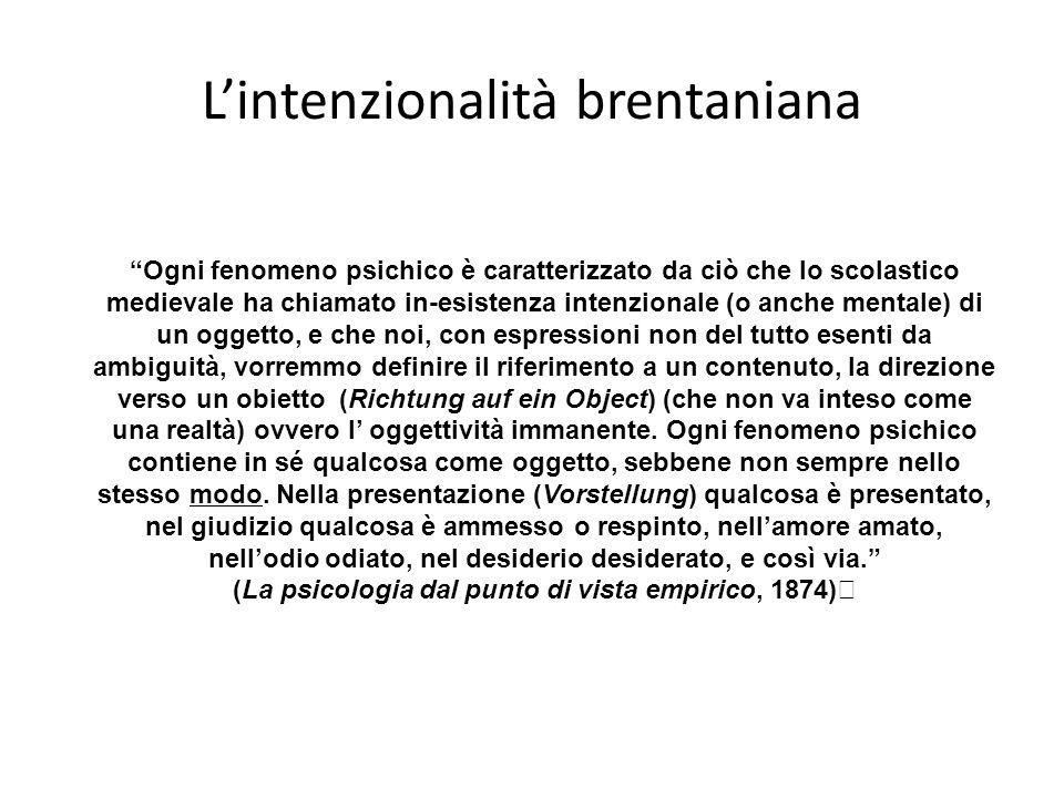 Lintenzionalità brentaniana Ogni fenomeno psichico è caratterizzato da ciò che lo scolastico medievale ha chiamato in-esistenza intenzionale (o anche