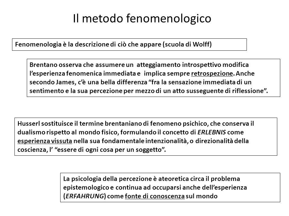 Il metodo fenomenologico Fenomenologia è la descrizione di ciò che appare (scuola di Wolff) Brentano osserva che assumere un atteggiamento introspetti