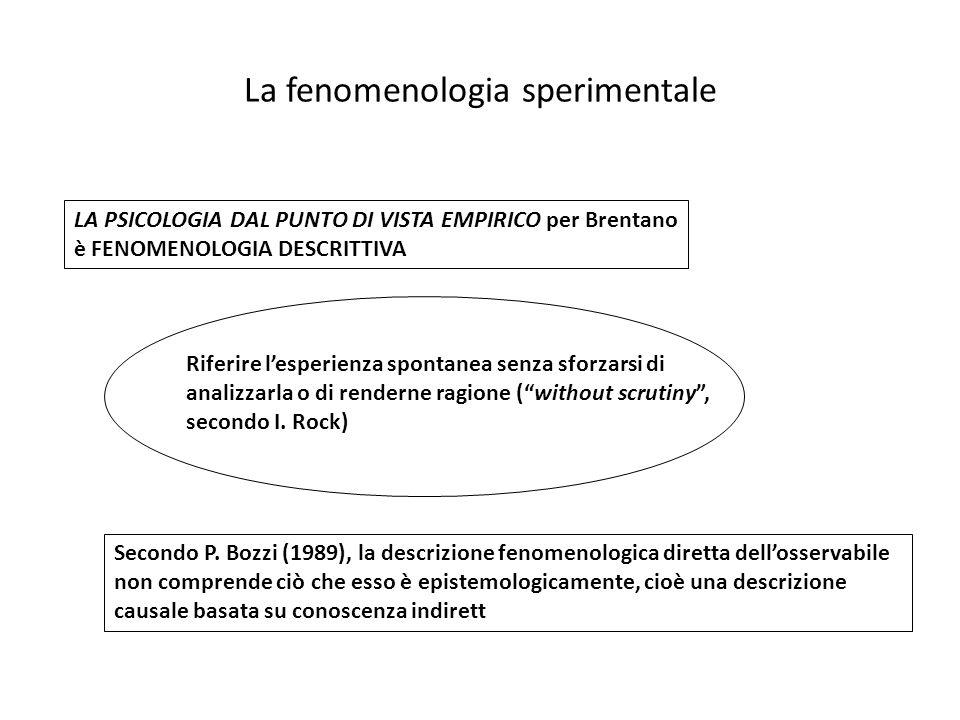 La fenomenologia sperimentale Riferire lesperienza spontanea senza sforzarsi di analizzarla o di renderne ragione (without scrutiny, secondo I. Rock)