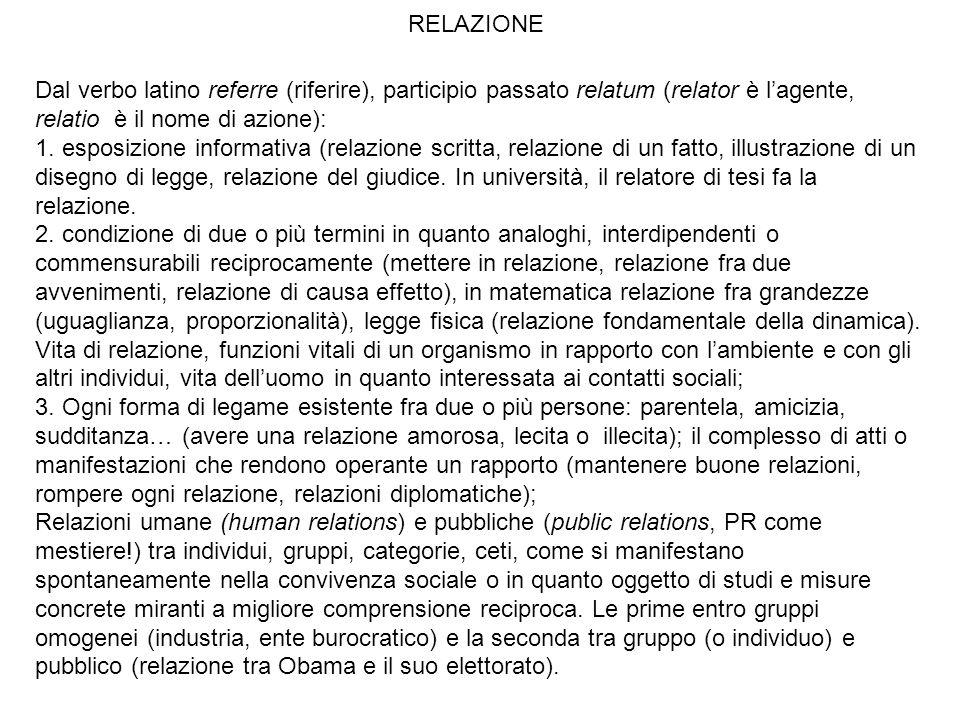 RELAZIONE Dal verbo latino referre (riferire), participio passato relatum (relator è lagente, relatio è il nome di azione): 1. esposizione informativa