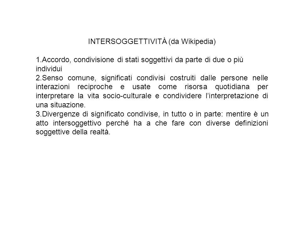 INTERSOGGETTIVITÀ (da Wikipedia) 1.Accordo, condivisione di stati soggettivi da parte di due o più individui 2.Senso comune, significati condivisi cos