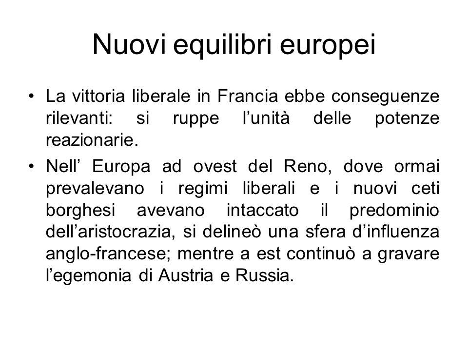Nuovi equilibri europei La vittoria liberale in Francia ebbe conseguenze rilevanti: si ruppe lunità delle potenze reazionarie. Nell Europa ad ovest de