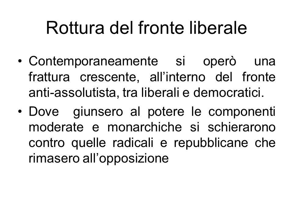 Rottura del fronte liberale Contemporaneamente si operò una frattura crescente, allinterno del fronte anti-assolutista, tra liberali e democratici. Do