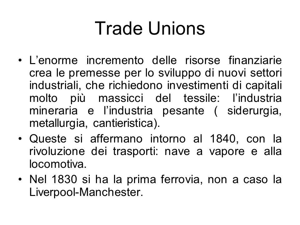Trade Unions Lenorme incremento delle risorse finanziarie crea le premesse per lo sviluppo di nuovi settori industriali, che richiedono investimenti d