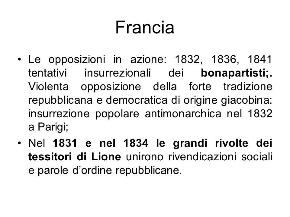 Francia Le opposizioni in azione: 1832, 1836, 1841 tentativi insurrezionali dei bonapartisti;. Violenta opposizione della forte tradizione repubblican