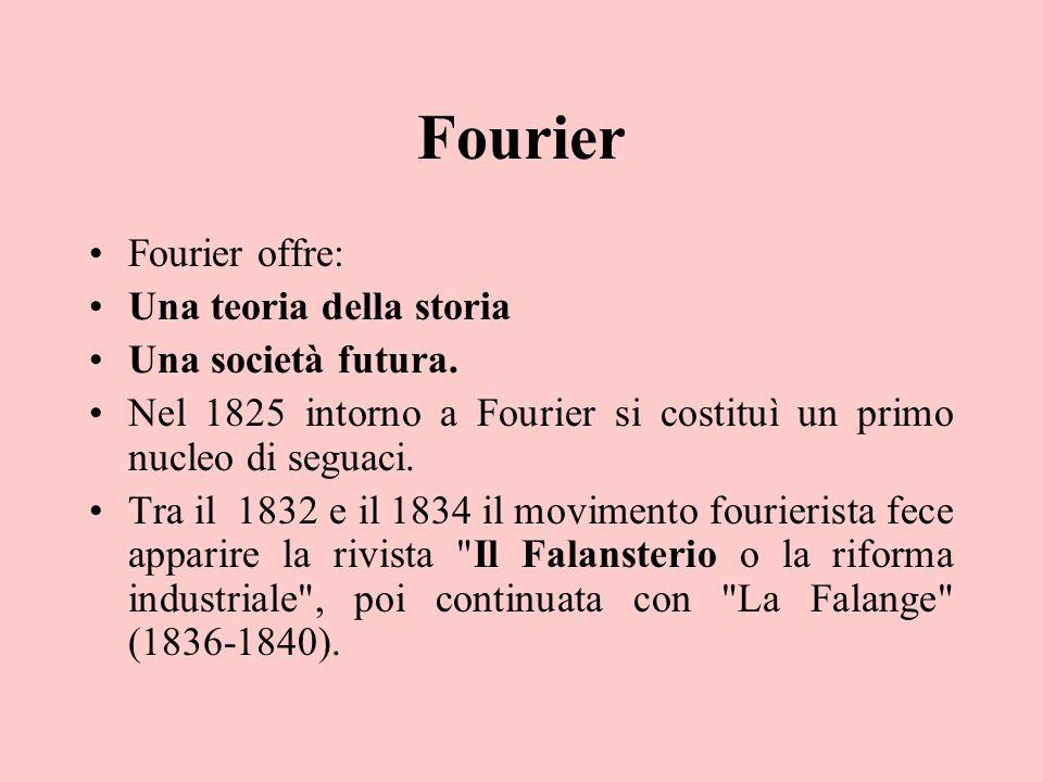 Fourier Fourier offre: Una teoria della storia Una società futura. Nel 1825 intorno a Fourier si costituì un primo nucleo di seguaci. Tra il 1832 e il