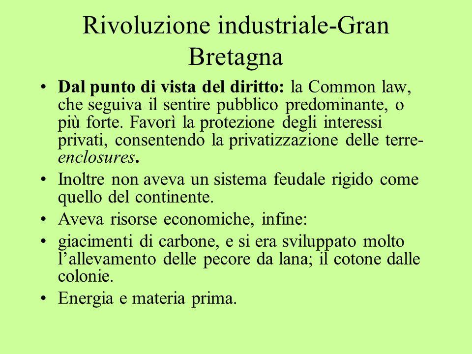 Rivoluzione industriale-Gran Bretagna Dal punto di vista del diritto: la Common law, che seguiva il sentire pubblico predominante, o più forte. Favorì