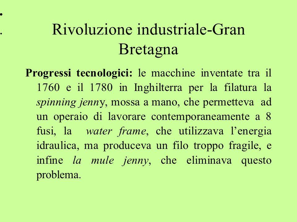 .... Rivoluzione industriale-Gran Bretagna Progressi tecnologici: le macchine inventate tra il 1760 e il 1780 in Inghilterra per la filatura la spinni