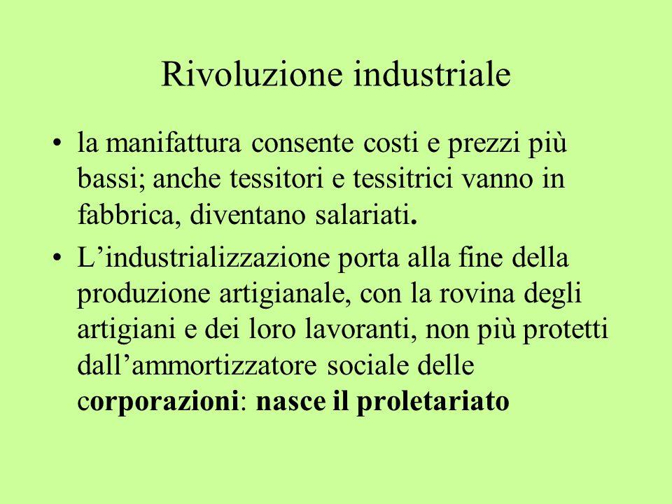 Rivoluzione industriale la manifattura consente costi e prezzi più bassi; anche tessitori e tessitrici vanno in fabbrica, diventano salariati. Lindust