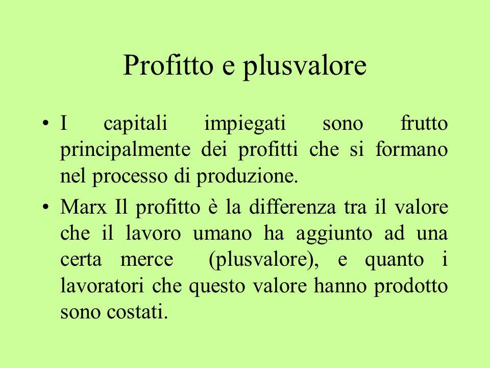 Profitto e plusvalore I capitali impiegati sono frutto principalmente dei profitti che si formano nel processo di produzione. Marx Il profitto è la di