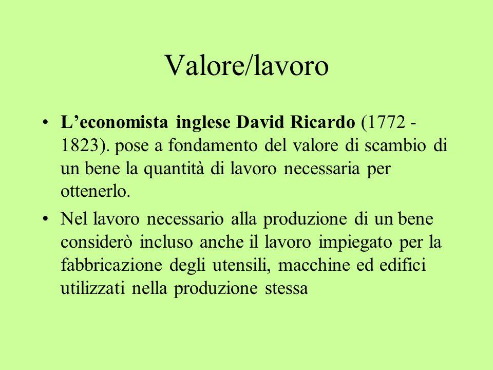 Valore/lavoro Leconomista inglese David Ricardo (1772 - 1823). pose a fondamento del valore di scambio di un bene la quantità di lavoro necessaria per