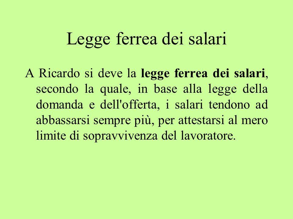 Legge ferrea dei salari A Ricardo si deve la legge ferrea dei salari, secondo la quale, in base alla legge della domanda e dell'offerta, i salari tend