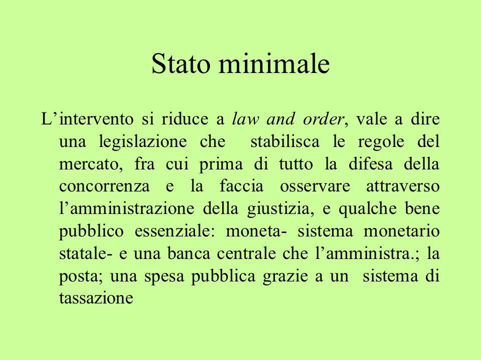 Stato minimale Lintervento si riduce a law and order, vale a dire una legislazione che stabilisca le regole del mercato, fra cui prima di tutto la dif