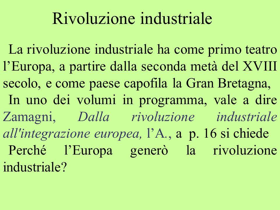 La rivoluzione industriale ha come primo teatro lEuropa, a partire dalla seconda metà del XVIII secolo, e come paese capofila la Gran Bretagna, In uno