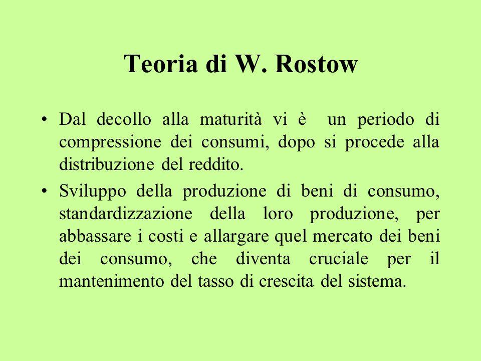 Teoria di W. Rostow Dal decollo alla maturità vi è un periodo di compressione dei consumi, dopo si procede alla distribuzione del reddito. Sviluppo de