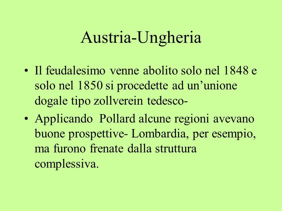 Austria-Ungheria Il feudalesimo venne abolito solo nel 1848 e solo nel 1850 si procedette ad ununione dogale tipo zollverein tedesco- Applicando Polla