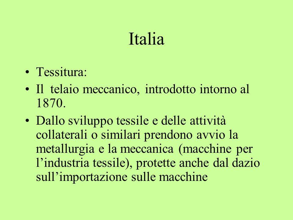Italia Tessitura: Il telaio meccanico, introdotto intorno al 1870. Dallo sviluppo tessile e delle attività collaterali o similari prendono avvio la me