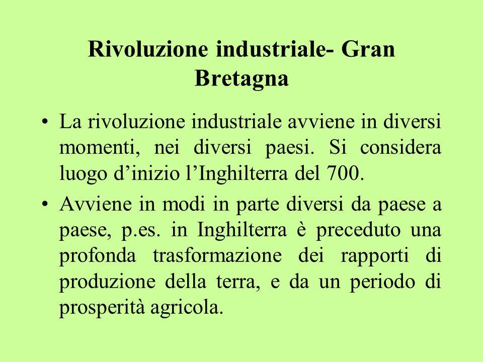 Rivoluzione industriale- Gran Bretagna La rivoluzione industriale avviene in diversi momenti, nei diversi paesi. Si considera luogo dinizio lInghilter