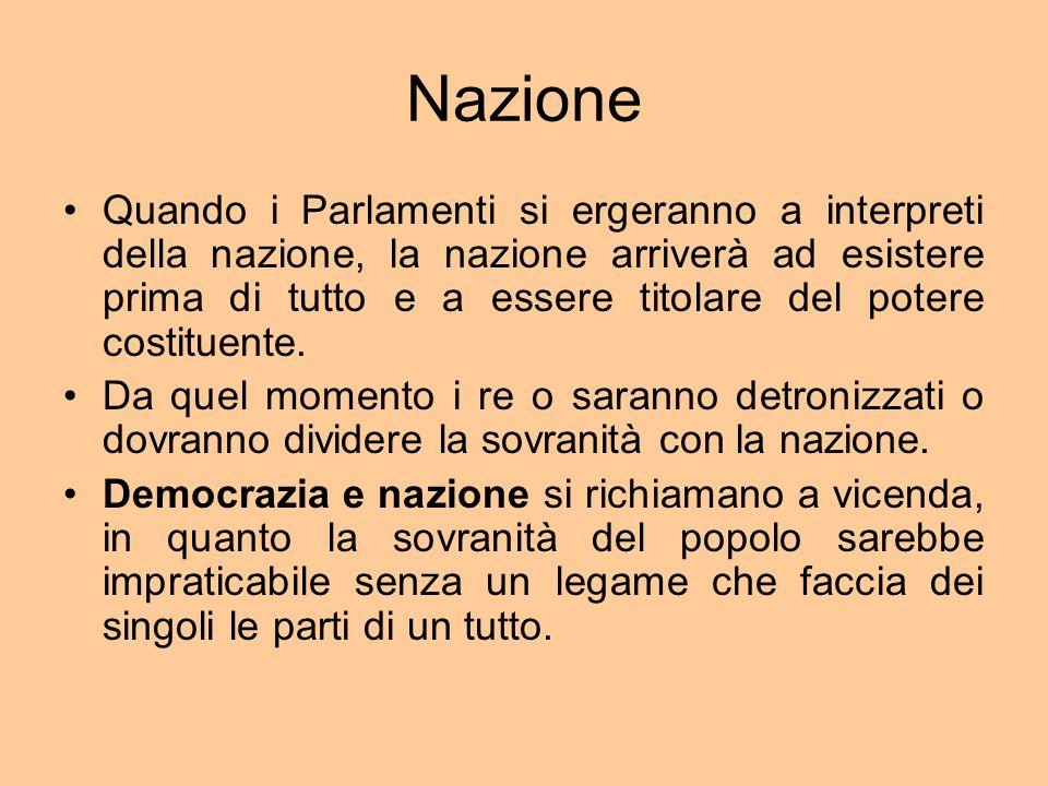 Nazione Quando i Parlamenti si ergeranno a interpreti della nazione, la nazione arriverà ad esistere prima di tutto e a essere titolare del potere costituente.
