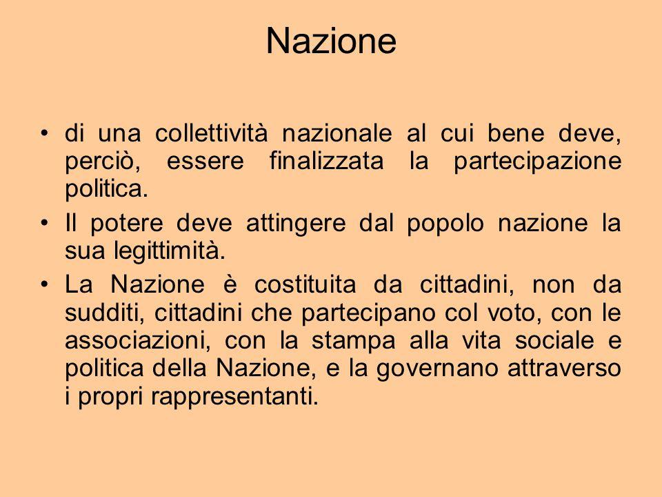 Nazione di una collettività nazionale al cui bene deve, perciò, essere finalizzata la partecipazione politica.