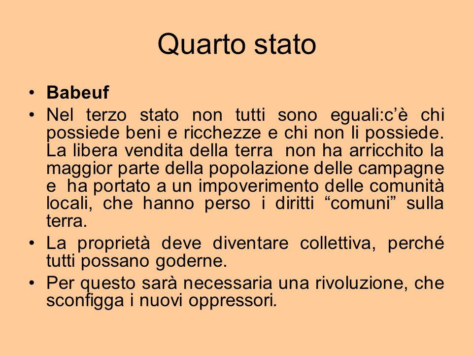 Quarto stato Babeuf Nel terzo stato non tutti sono eguali:cè chi possiede beni e ricchezze e chi non li possiede.