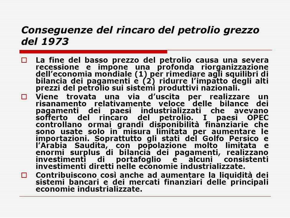 Conseguenze del rincaro del petrolio grezzo del 1973 La fine del basso prezzo del petrolio causa una severa recessione e impone una profonda riorganiz