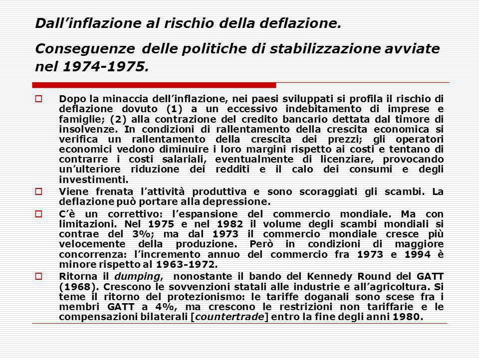 Dallinflazione al rischio della deflazione. Conseguenze delle politiche di stabilizzazione avviate nel 1974-1975. Dopo la minaccia dellinflazione, nei
