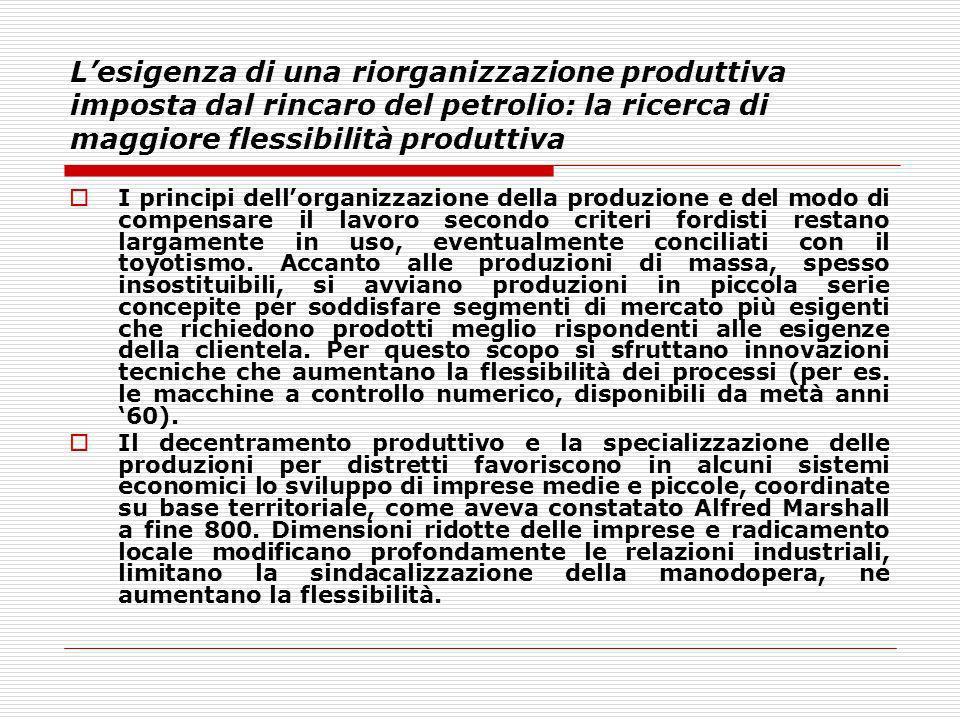Lesigenza di una riorganizzazione produttiva imposta dal rincaro del petrolio: la ricerca di maggiore flessibilità produttiva I principi dellorganizza