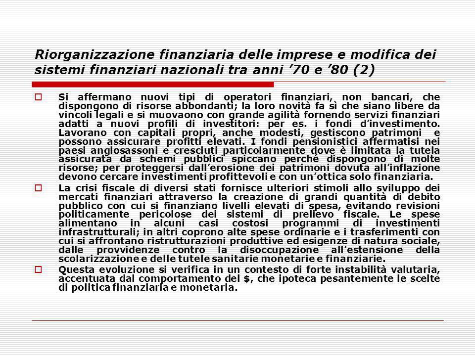 Riorganizzazione finanziaria delle imprese e modifica dei sistemi finanziari nazionali tra anni 70 e 80 (2) Si affermano nuovi tipi di operatori finan