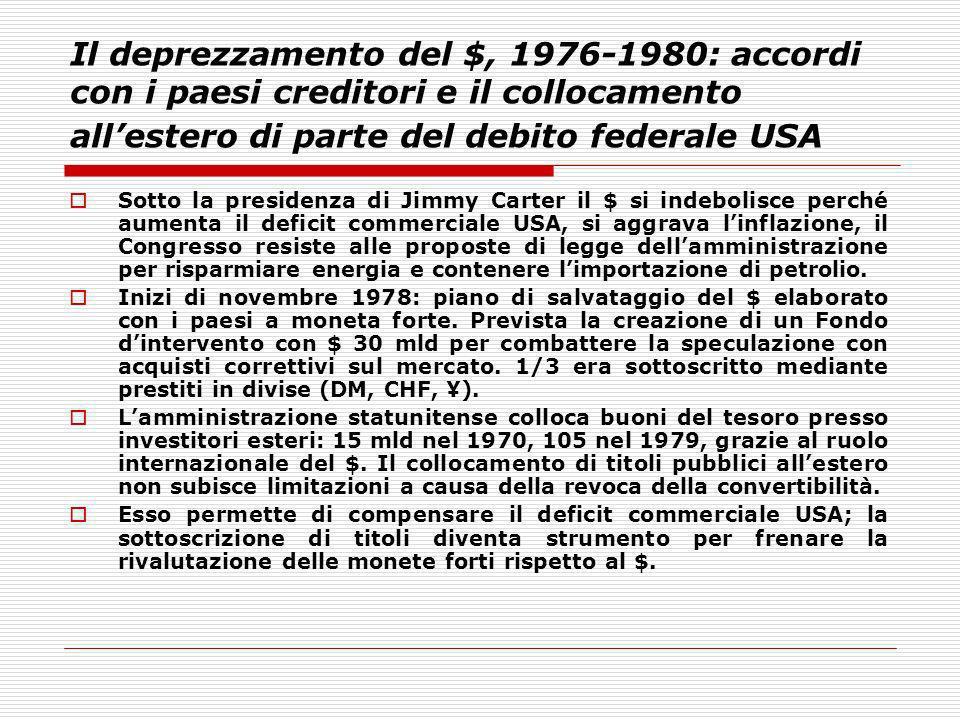 Il deprezzamento del $, 1976-1980: accordi con i paesi creditori e il collocamento allestero di parte del debito federale USA Sotto la presidenza di J