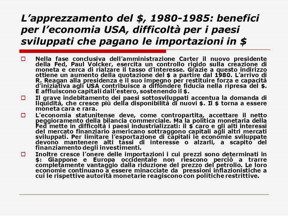 Lapprezzamento del $, 1980-1985: benefici per leconomia USA, difficoltà per i paesi sviluppati che pagano le importazioni in $ Nella fase conclusiva d