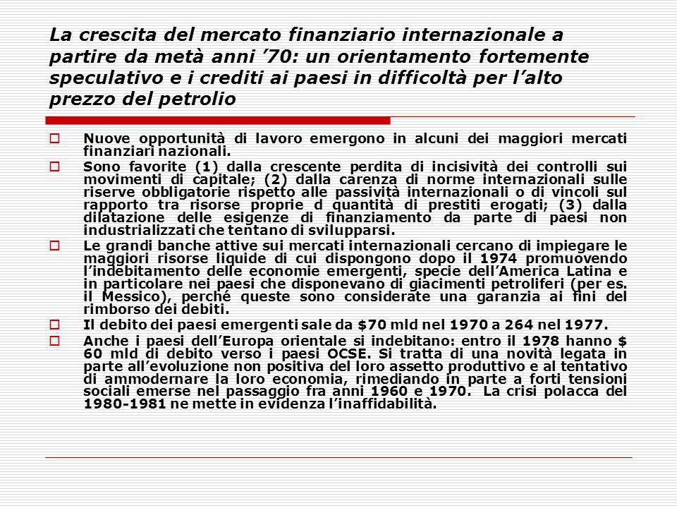 La crescita del mercato finanziario internazionale a partire da metà anni 70: un orientamento fortemente speculativo e i crediti ai paesi in difficolt