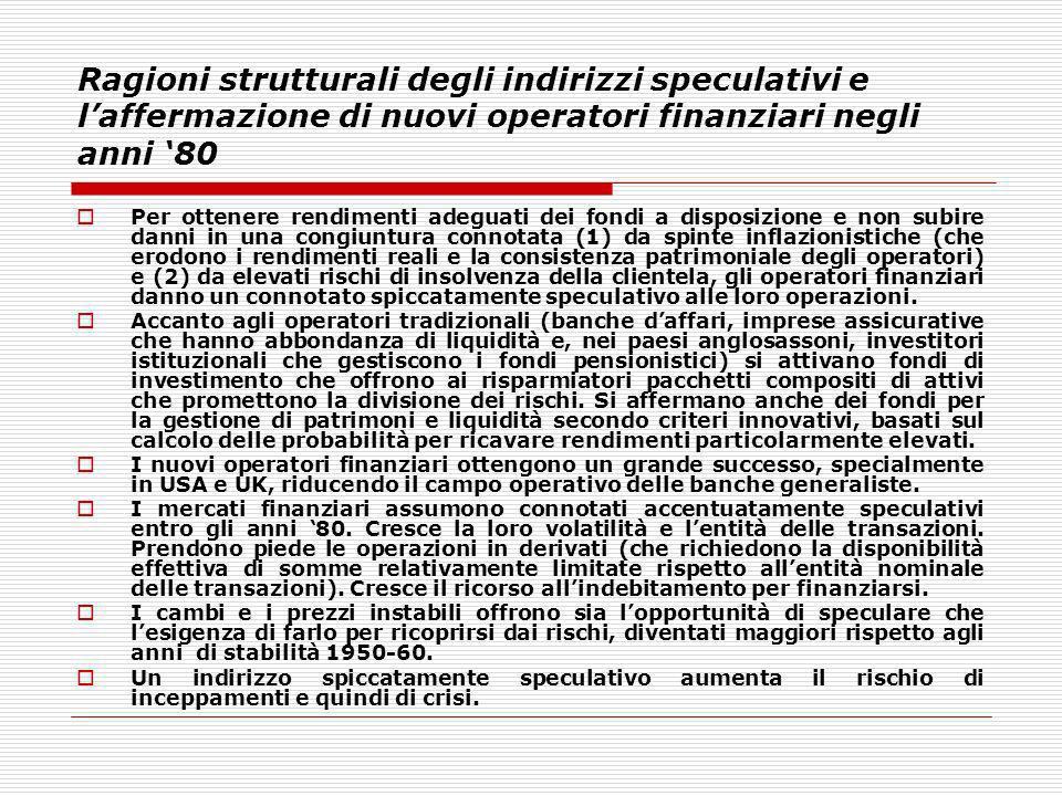 Ragioni strutturali degli indirizzi speculativi e laffermazione di nuovi operatori finanziari negli anni 80 Per ottenere rendimenti adeguati dei fondi