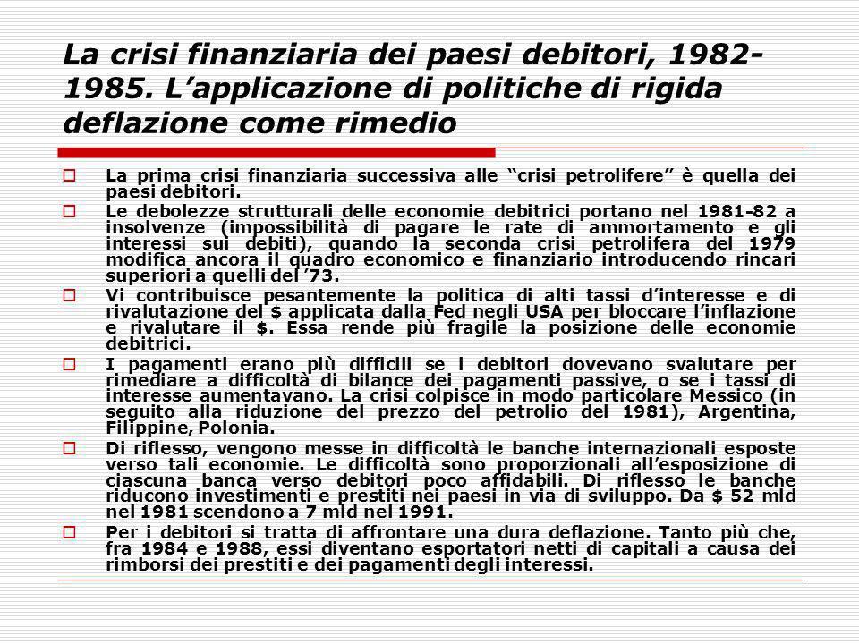 La crisi finanziaria dei paesi debitori, 1982- 1985. Lapplicazione di politiche di rigida deflazione come rimedio La prima crisi finanziaria successiv