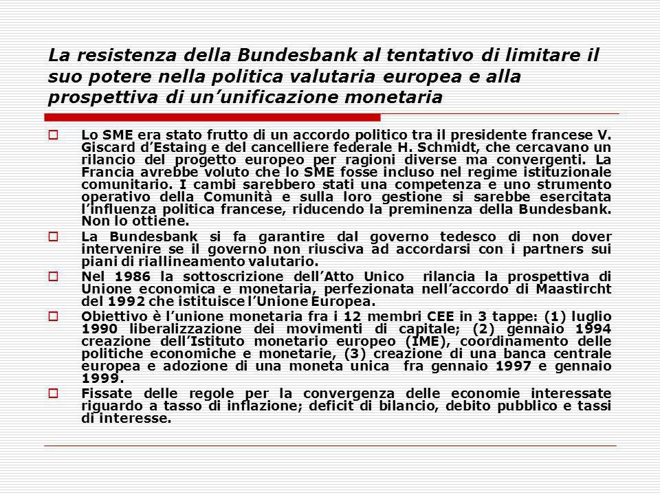 La resistenza della Bundesbank al tentativo di limitare il suo potere nella politica valutaria europea e alla prospettiva di ununificazione monetaria