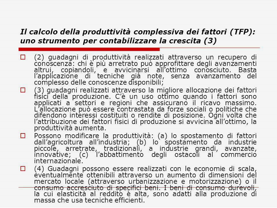 Il calcolo della produttività complessiva dei fattori (TFP): uno strumento per contabilizzare la crescita (3) (2) guadagni di produttività realizzati