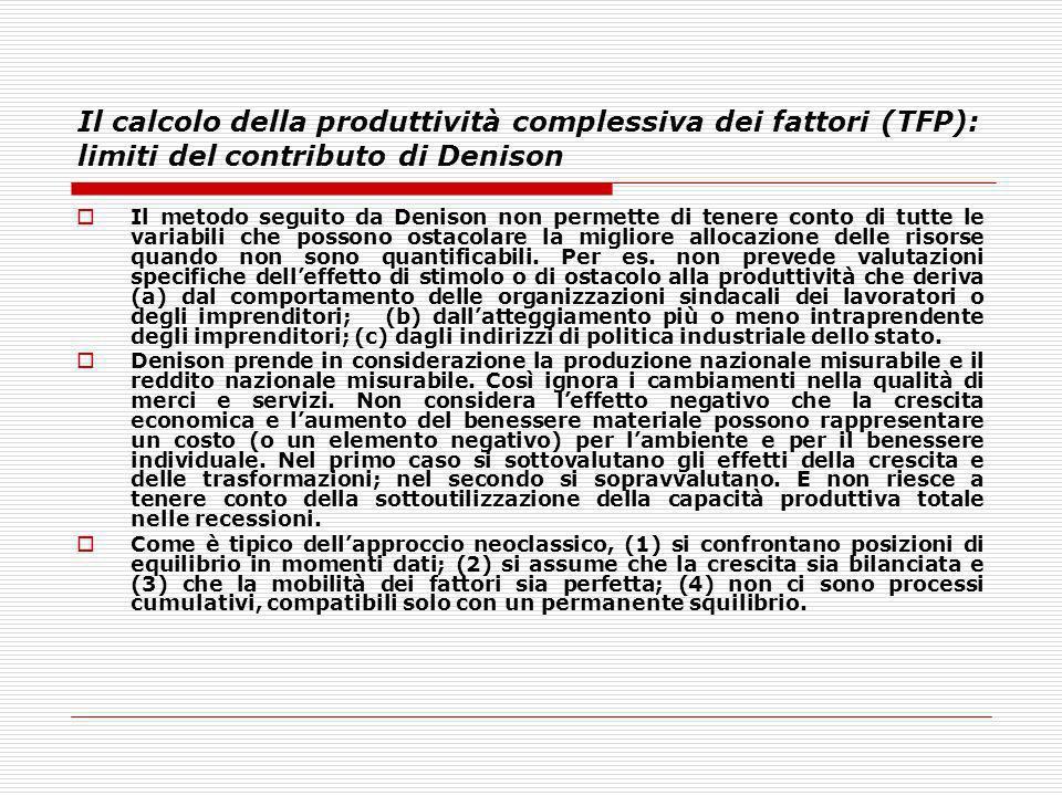 Il calcolo della produttività complessiva dei fattori (TFP): limiti del contributo di Denison Il metodo seguito da Denison non permette di tenere cont