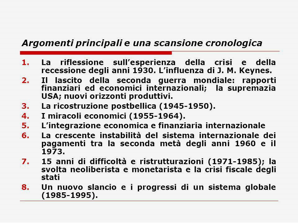 Argomenti principali e una scansione cronologica 1.La riflessione sullesperienza della crisi e della recessione degli anni 1930. Linfluenza di J. M. K