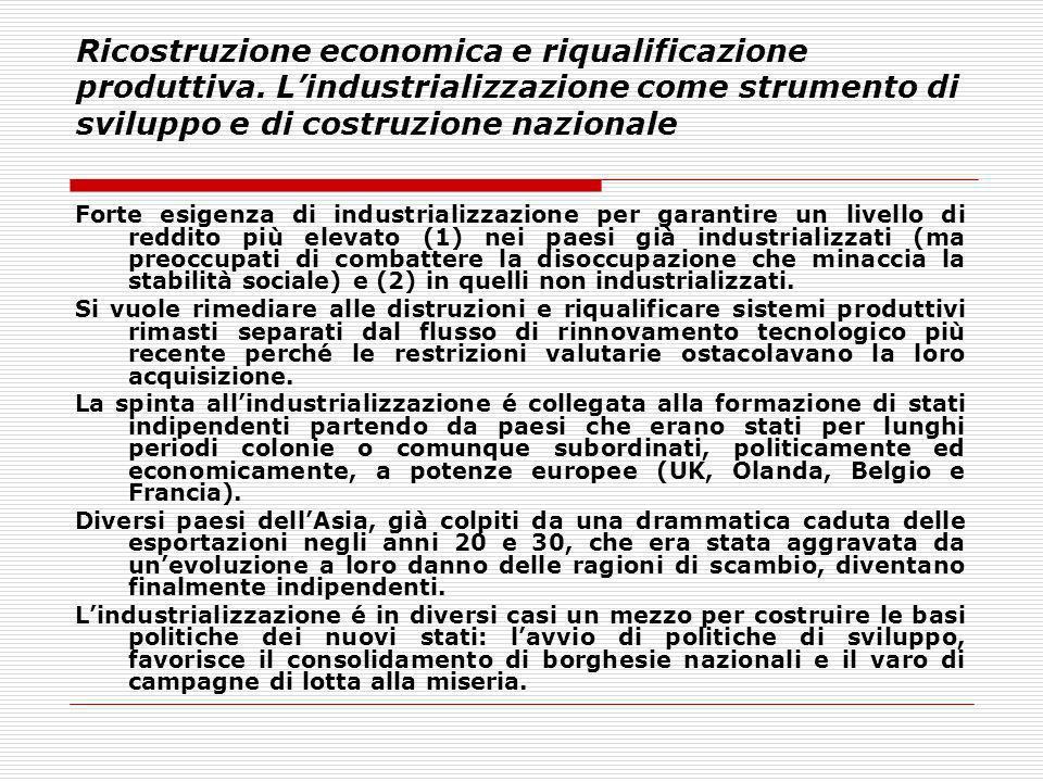 Ricostruzione economica e riqualificazione produttiva. Lindustrializzazione come strumento di sviluppo e di costruzione nazionale Forte esigenza di in