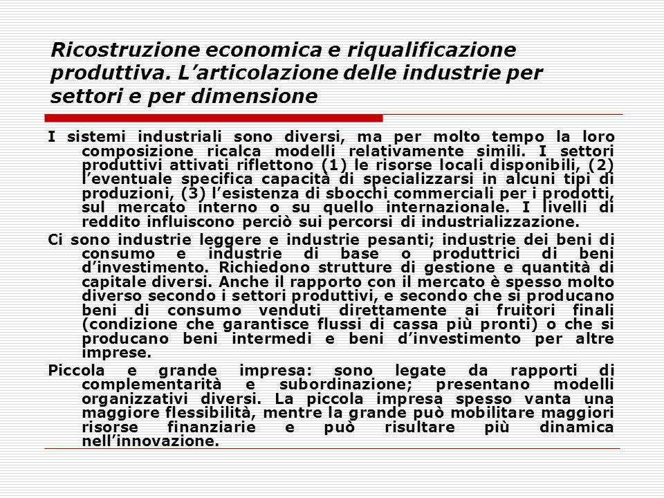 Ricostruzione economica e riqualificazione produttiva. Larticolazione delle industrie per settori e per dimensione I sistemi industriali sono diversi,