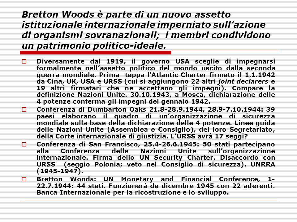 Bretton Woods è parte di un nuovo assetto istituzionale internazionale imperniato sullazione di organismi sovranazionali; i membri condividono un patr