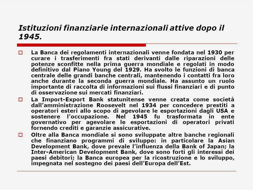 Istituzioni finanziarie internazionali attive dopo il 1945. La Banca dei regolamenti internazionali venne fondata nel 1930 per curare i trasferimenti
