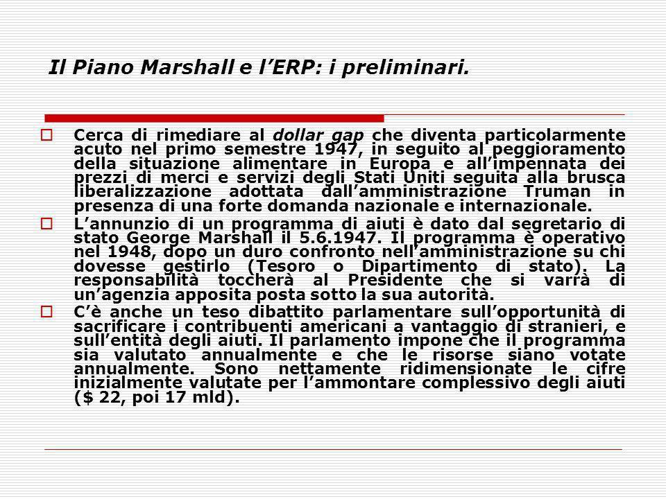 Il Piano Marshall e lERP: i preliminari. Cerca di rimediare al dollar gap che diventa particolarmente acuto nel primo semestre 1947, in seguito al peg