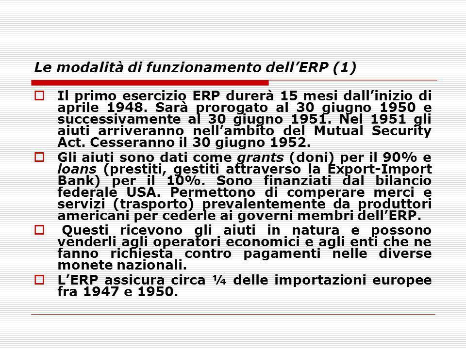 Le modalità di funzionamento dellERP (1) Il primo esercizio ERP durerà 15 mesi dallinizio di aprile 1948. Sarà prorogato al 30 giugno 1950 e successiv