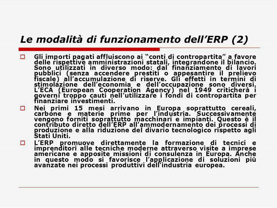 Le modalità di funzionamento dellERP (2) Gli importi pagati affluiscono ai conti di contropartita a favore delle rispettive amministrazioni statali, i