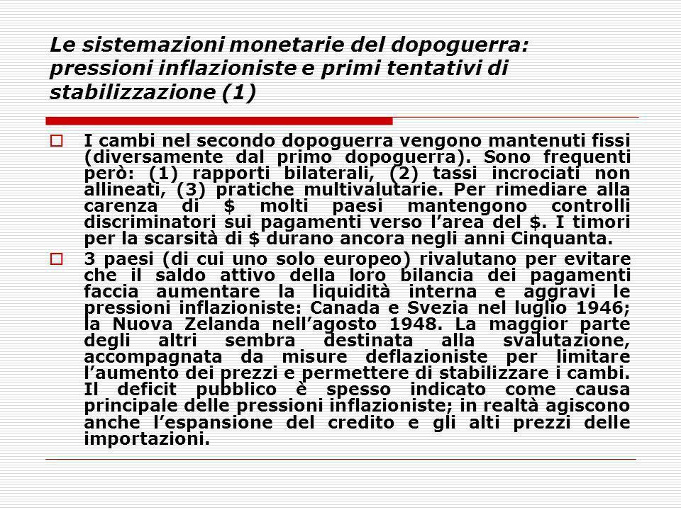 Le sistemazioni monetarie del dopoguerra: pressioni inflazioniste e primi tentativi di stabilizzazione (1) I cambi nel secondo dopoguerra vengono mant
