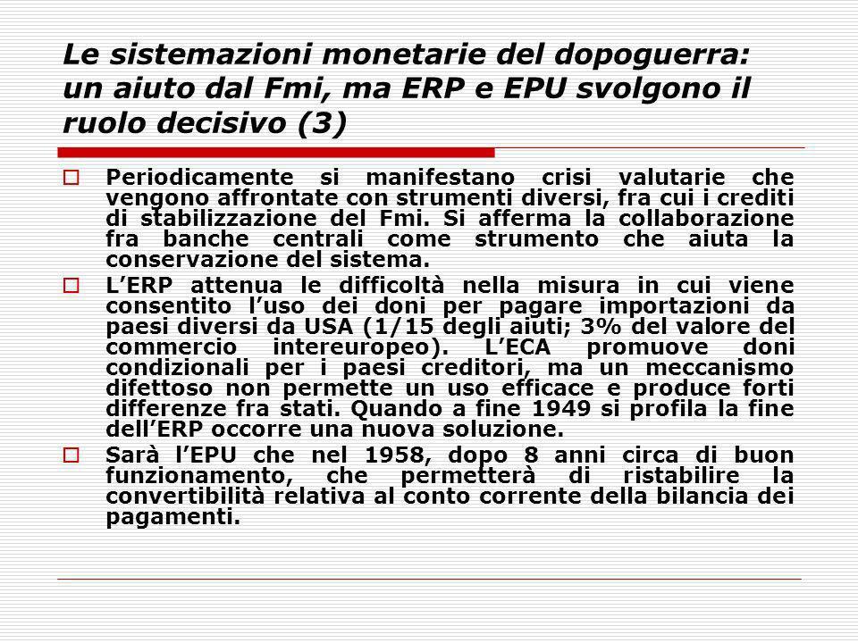 Le sistemazioni monetarie del dopoguerra: un aiuto dal Fmi, ma ERP e EPU svolgono il ruolo decisivo (3) Periodicamente si manifestano crisi valutarie