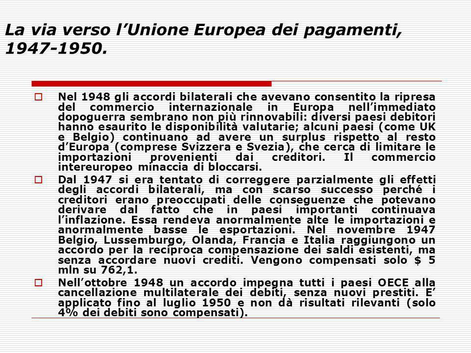 La via verso lUnione Europea dei pagamenti, 1947-1950. Nel 1948 gli accordi bilaterali che avevano consentito la ripresa del commercio internazionale
