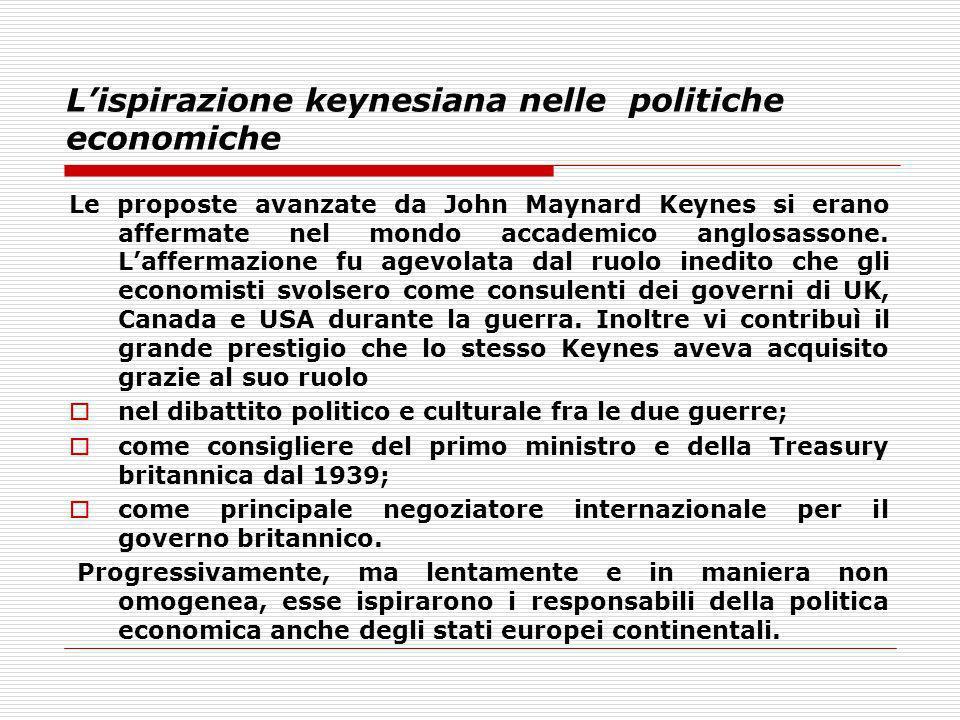 Lispirazione keynesiana nelle politiche economiche Le proposte avanzate da John Maynard Keynes si erano affermate nel mondo accademico anglosassone. L